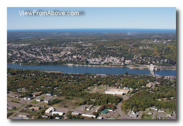 Aerial Photo Houghton Hancock, Michigan